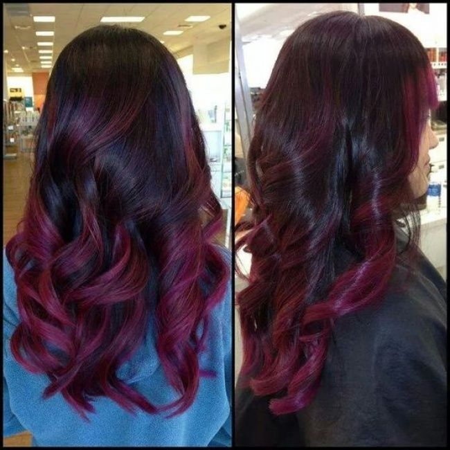 Ombre Hair Sur Base Brune La Couleur Qui Cartonne En 2016 54 Photos Tendance Coiffure Merlot Hair Color Hair Styles Balayage Hair Purple