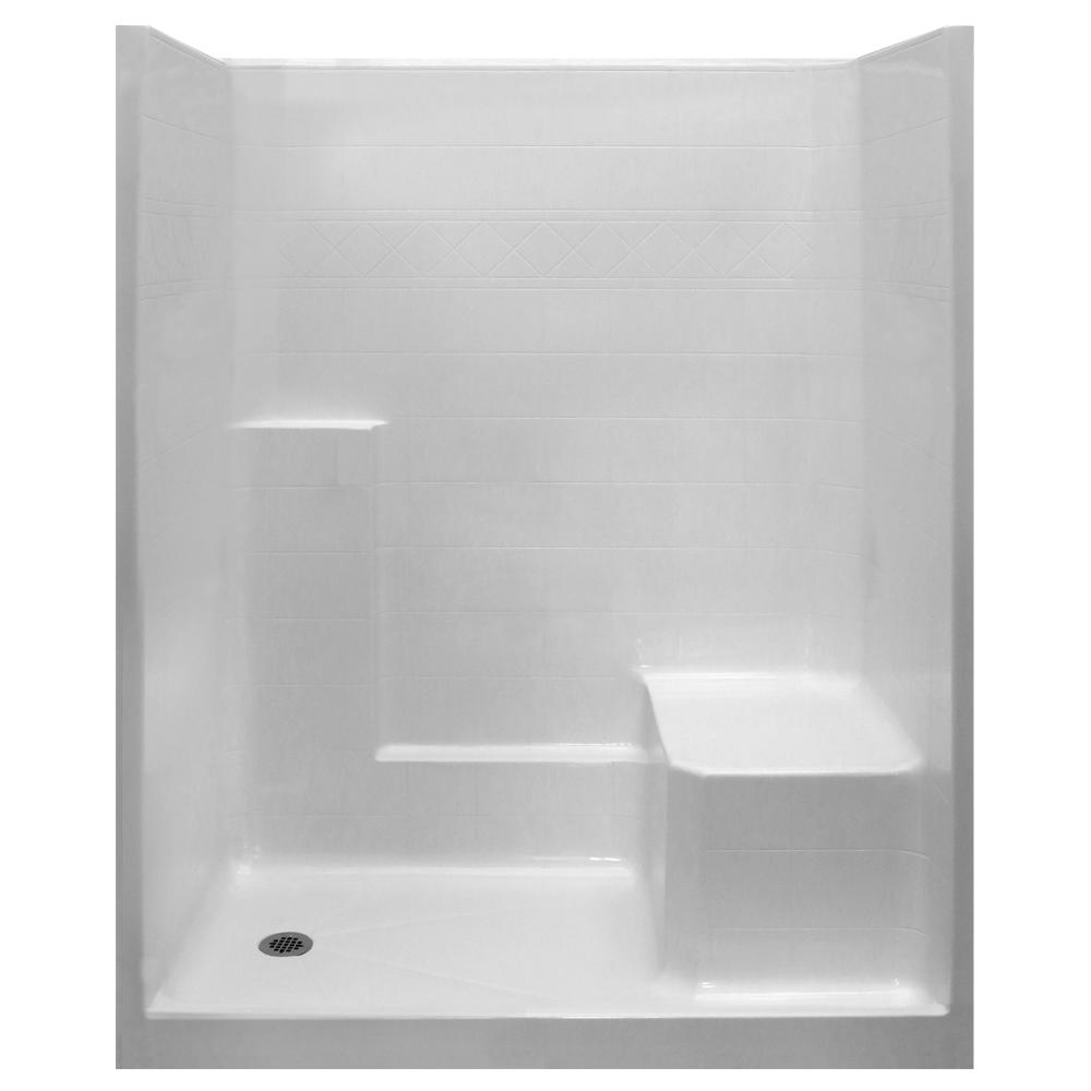 Ella Standard 36 In X 60 In X 77 In 1 Piece Low Threshold Shower Stall In White With Rhs Molded Seat And Left Drain In 2020 Shower Surround Mold In Bathroom Small Bathroom Plans