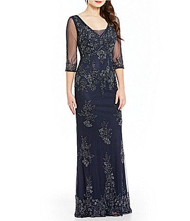 bff8415fac1 MGNY Madeline Gardner New York 34 Sleeve Beaded Gown  Dillards ...