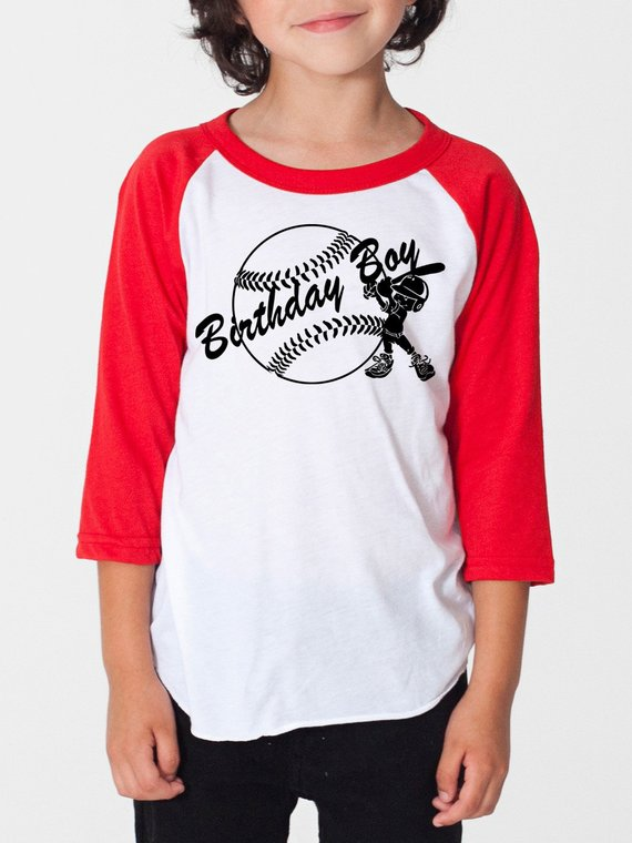 2810b1ac6 Personalized Birthday Raglan Shirt Add Your Name And Age On A Back Kid  Birthday Party T-shirt