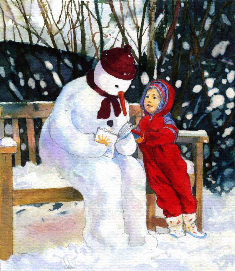 Reading with the snowman / Leyendo con el muñeco de nieve (ilustración de Frances McKay)!