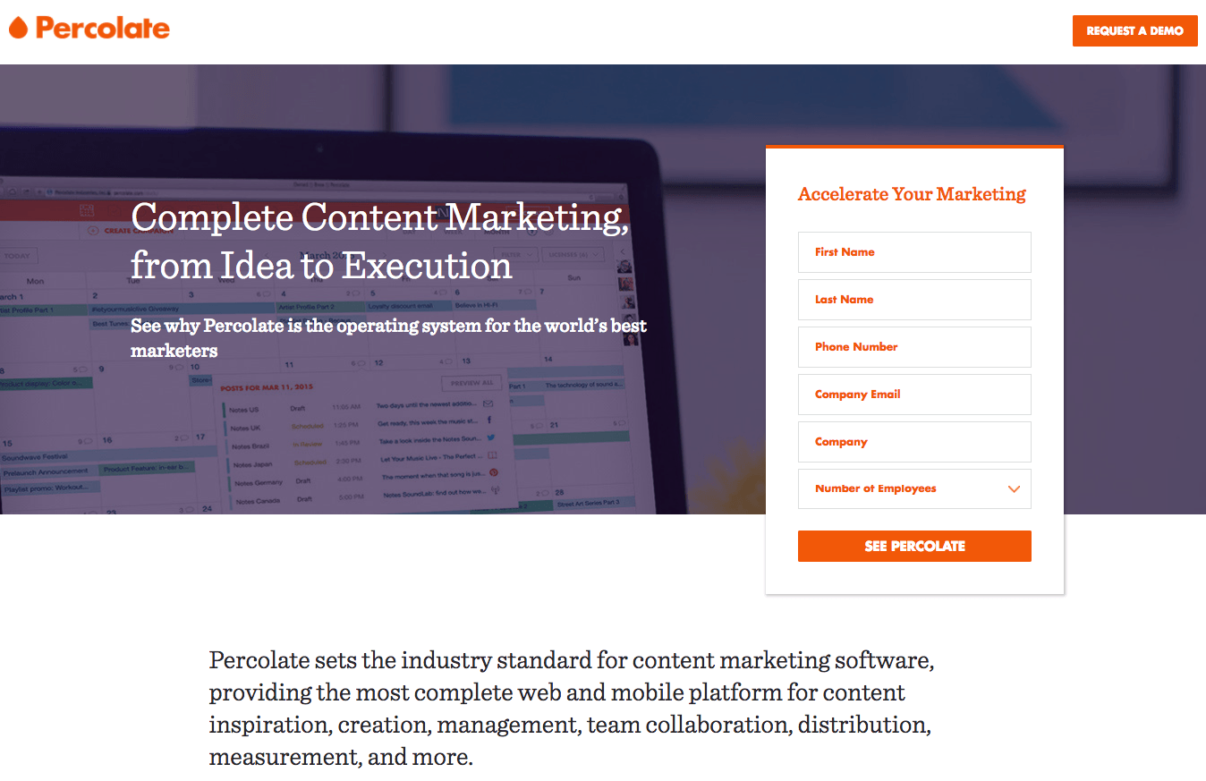 Percolate Landing Page Example