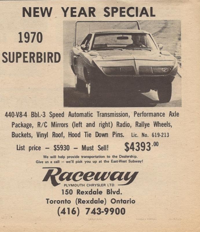 Plymouth Superbird - $4393 - http://www.hemmings.com/classifieds ...