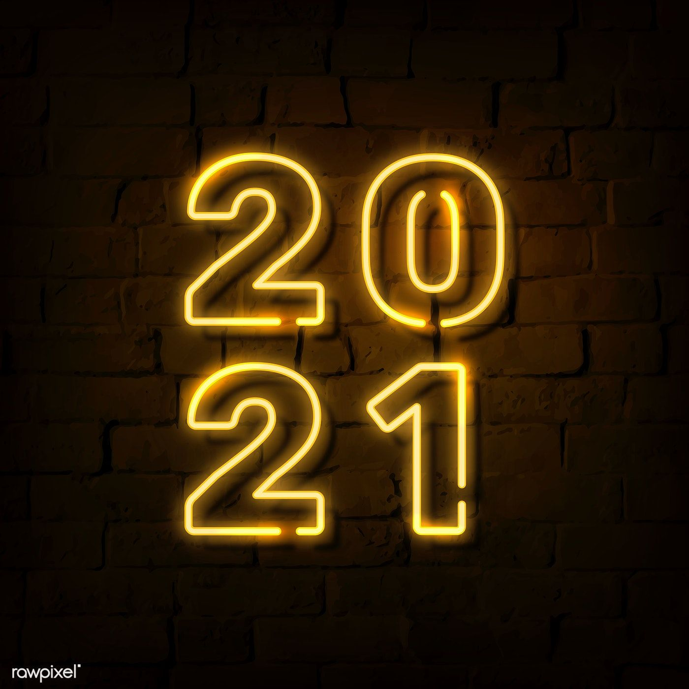 Download premium vector of Bright neon yellow 2021 social