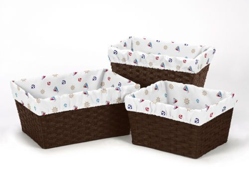 Nautical Boat Print Organizer Storage Kid Basket Liners