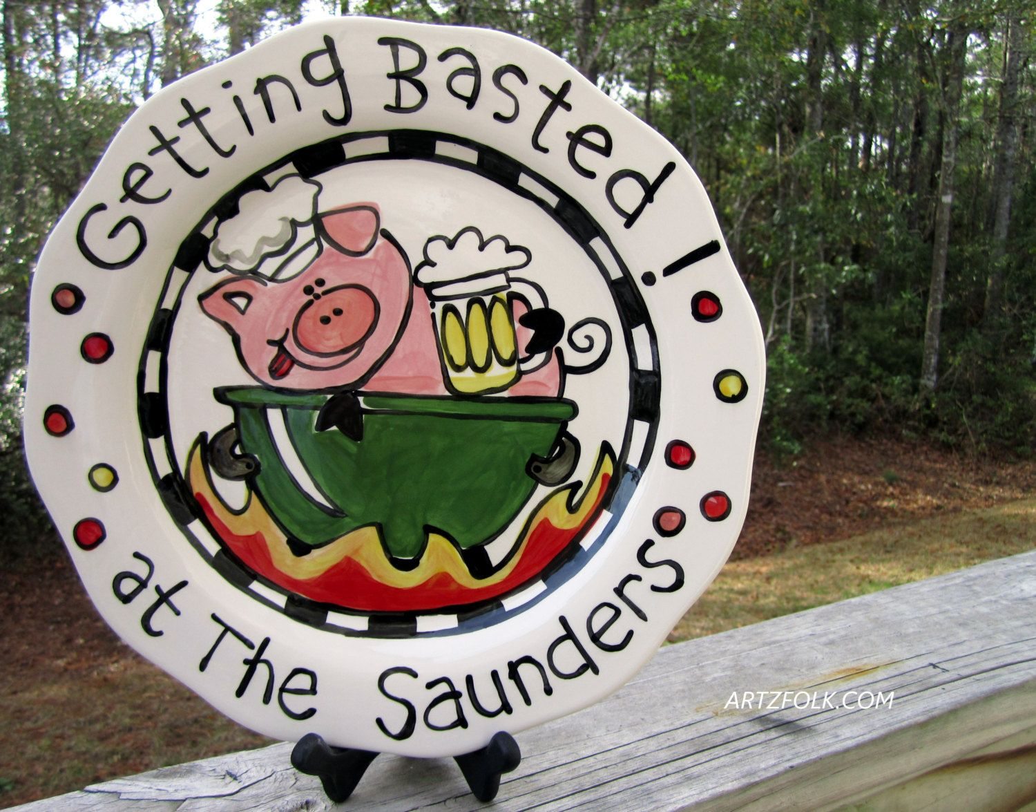 CUSTOM 13  BBQ Family  Platter Personalized great for by artzfolk, $50.00