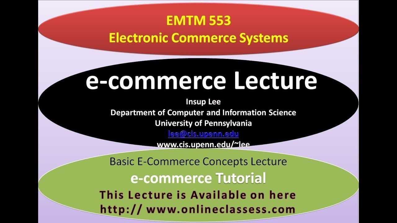 Electronic Commerce Systems Insup Lee।Basic