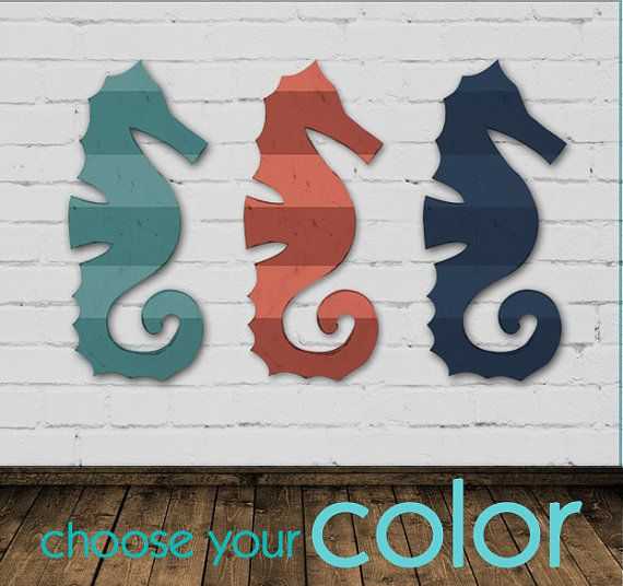Large Wood Seahorse Wide Stripes Wall Art Choose Your Color