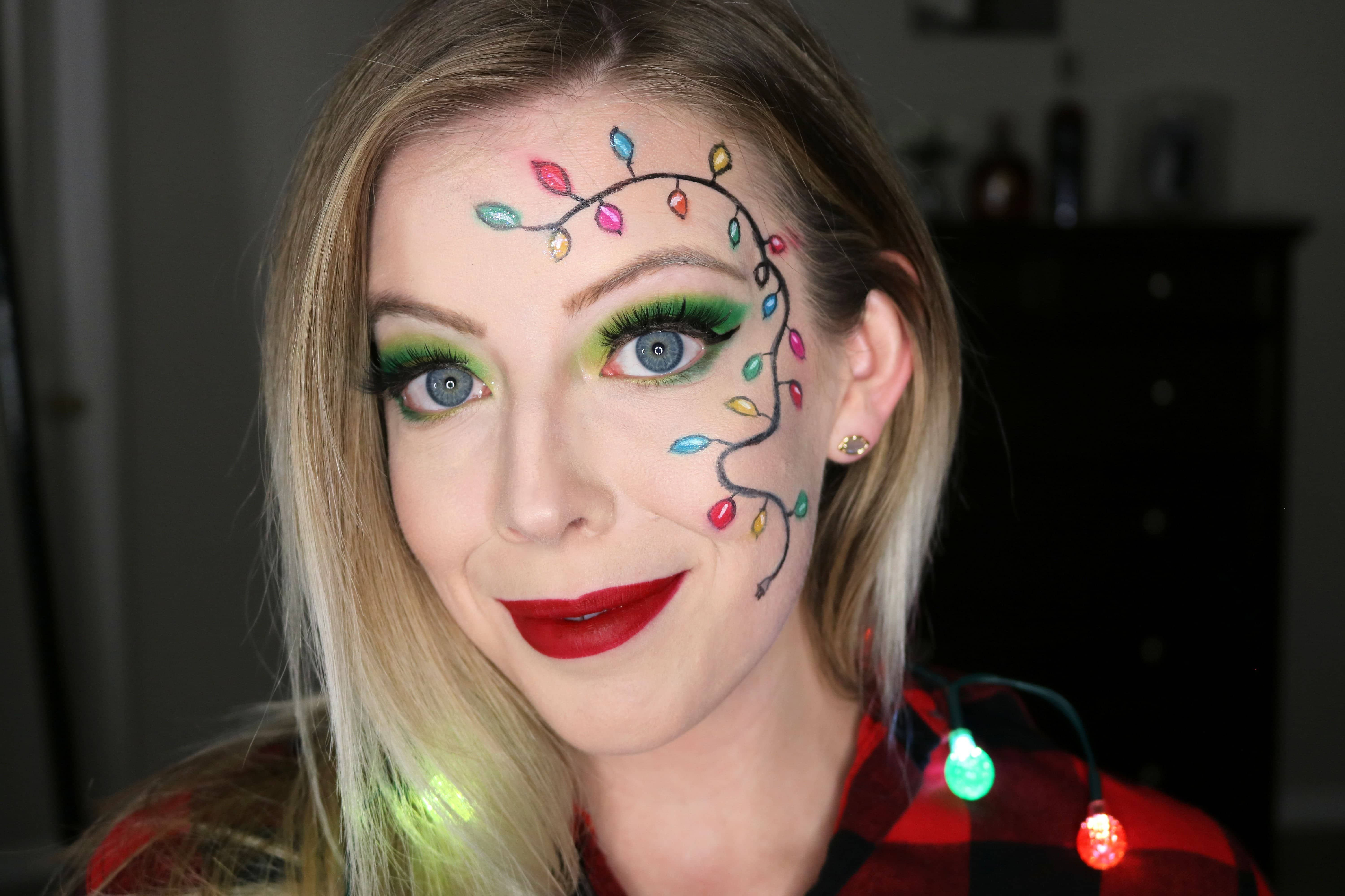 Festive String Lights Christmas Party Makeup - Kindly Unspoken - #christmas #festive #kindly #lights #makeup #party #string #unspoken