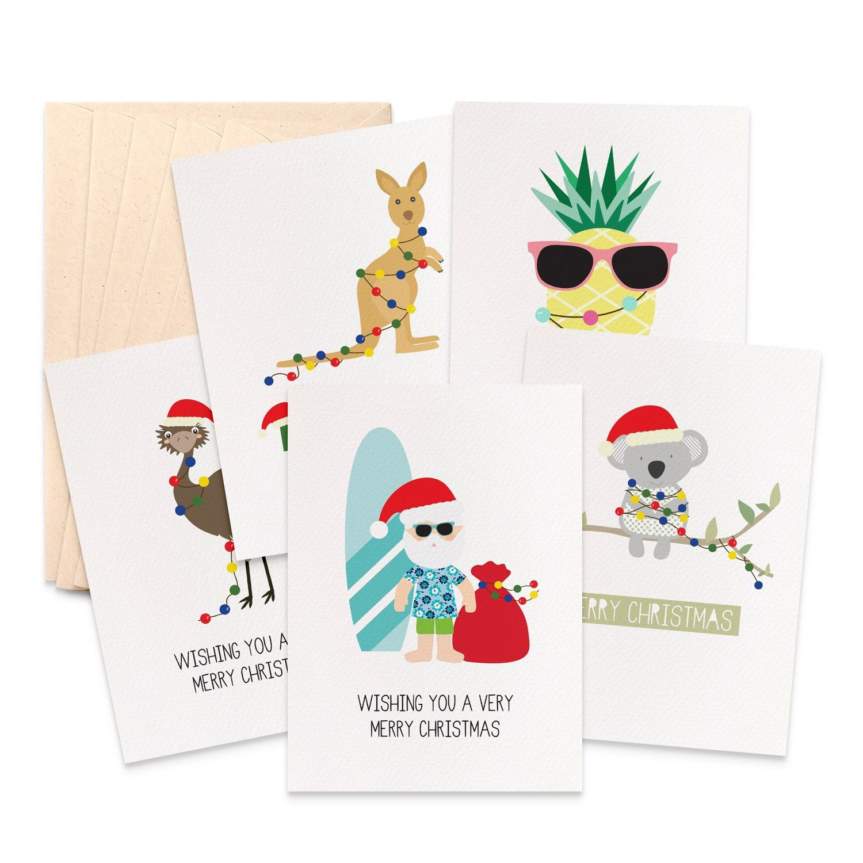 Australian Christmas Card Pack Aussie Christmas Cards Set Of 5 Cards Koala Card Kangaroo Card Emu Card Aussie Santa Xmas Cards 5p026 Australian Christmas Cards Christmas Card Packs Stylish Christmas Cards