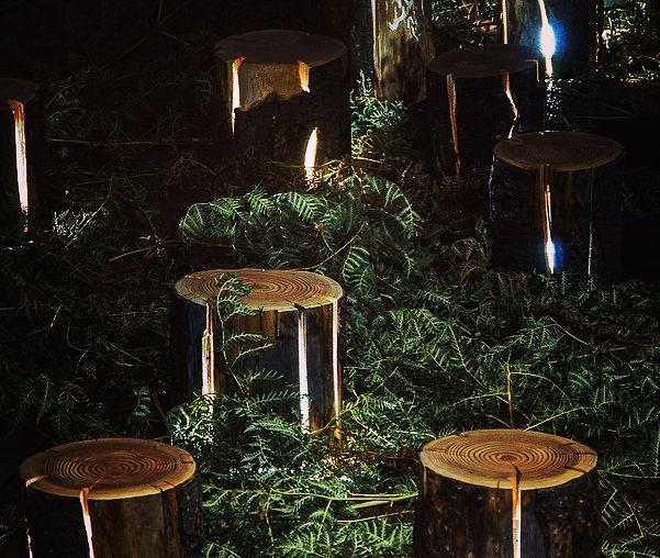 ein traumgarten gestalten mit moderner Gartenbeleuchtung und - gartendekoration aus holz