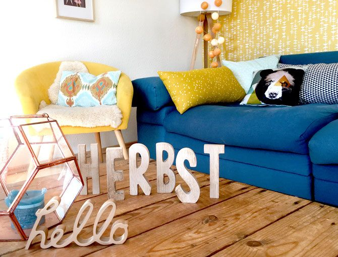 Lybstes näht Kissen in Senfgelb und Mint, Wohnzimmer dekorieren - Wohnzimmer Grau Orange