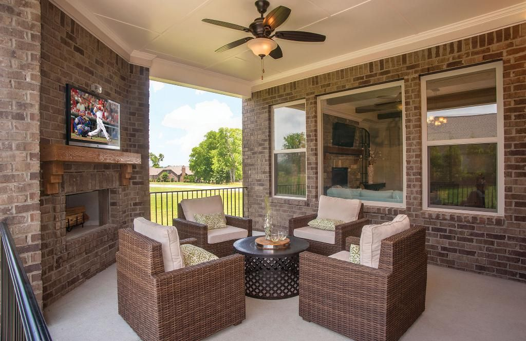 Covered Outdoor Living Area With Patio Furniture; The Colton Floor Plan,  Drees Homes, Part 88