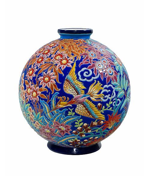 """Emaux de Longwy """"Boule Jungle Bird"""" A French Art Deco ceramic & enameled """"Boule Jungle Bird"""" (Jungle Bird Vase) ceramic vase designed by, Maurice Paul Chevallier decorated in a crackle glaze of vibrant colors and gilt, with a frieze of exotic foliage, dragonflies and a jungle bird in various stages of flight. This design was featured at l'Exposition Coloniale de Paris in 1931. circa 1930"""