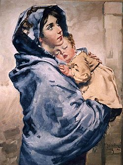 Madonna of the Streets was a painting created by Roberto Ferruzzi (1854-1934) and first publicly exhibited in 1897 at an art exhibition in Venice. The models for this painting were Angelina Cian (age 11) and her younger brother. Although not originally painted as a religious picture, this painting was received by the public as a beautiful image of the Virgin Mary holding her infant Son, and has become the most renowned of Ferruzzi's works.