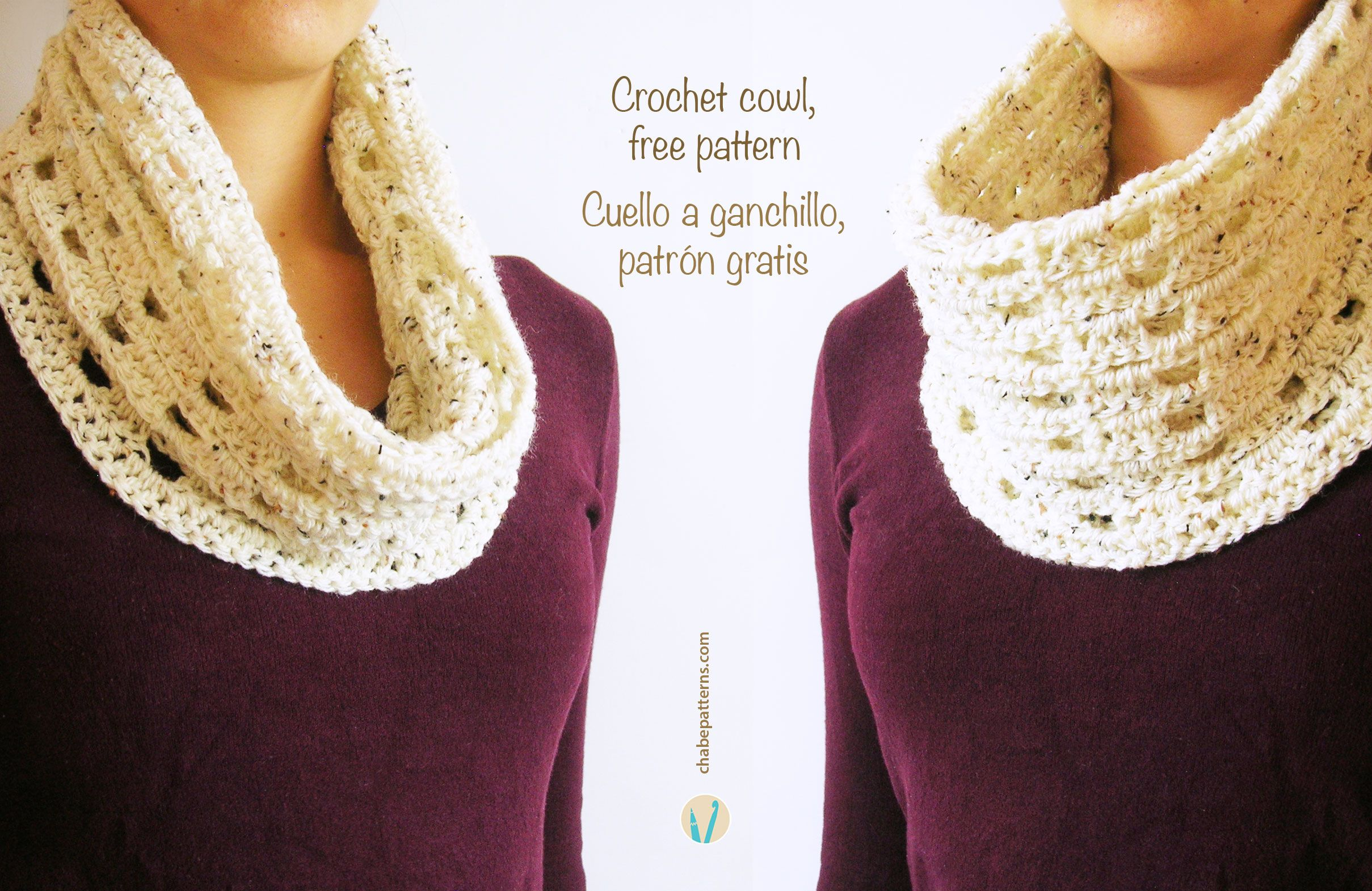 Crochet cowl free pattern, chart with symbols, written instructions ...
