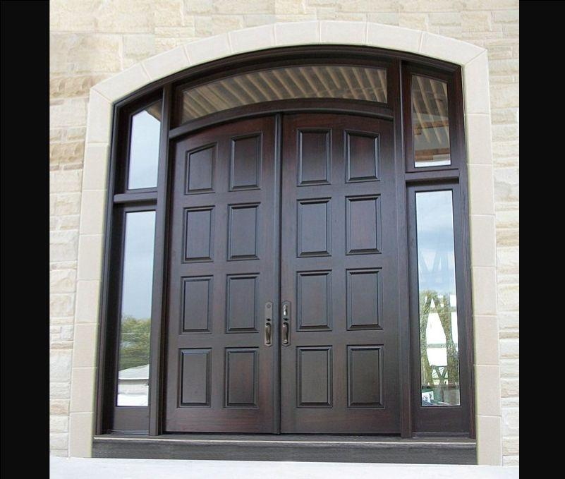 Exceptional Solid Black Wood Double Front Entry Doors With Fiberglass Inside .