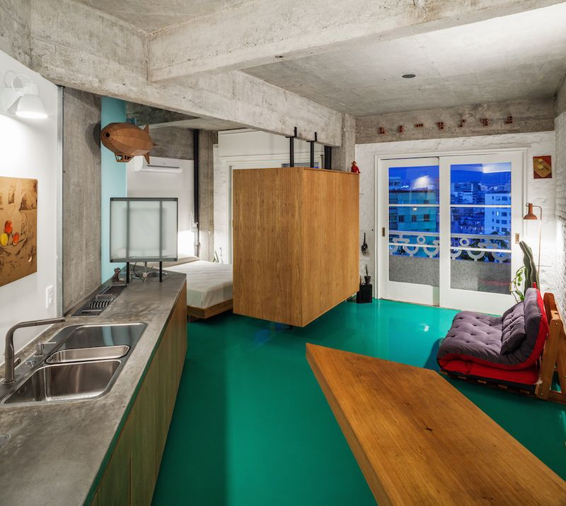 Small Apartment Renovation Lifts The Furniture Off The Awesome Green ...