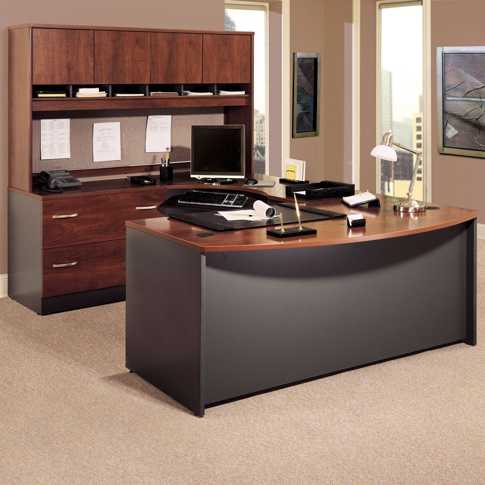 bush series c ushaped desk with 4 door hutch and lateral file - Bush Office Furniture