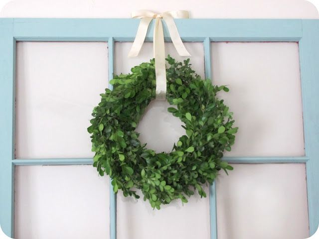 Love The Idea Of An Old Window With A Boxwood Wreath Over Dining Room Buffet