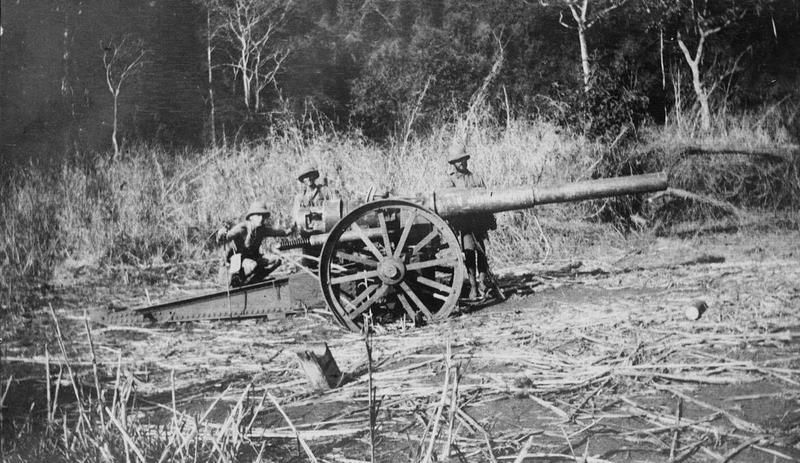 3 Sept 1916, in Africa, abandoned German 4.1-inch (105mm) gun from SMS KÖNIGSBERG