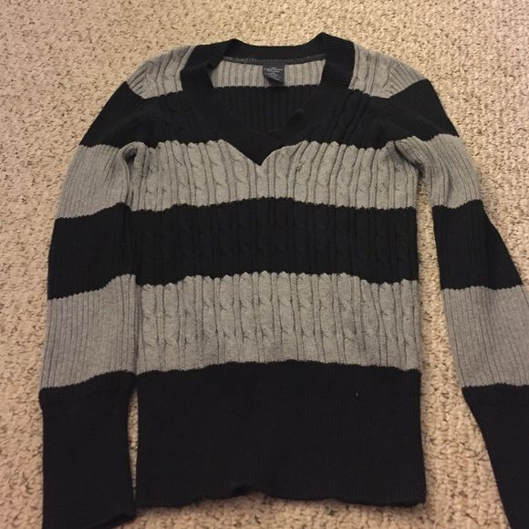 Striped sweater Black grey striped sweater, soft material, vneck Sweaters V-Necks