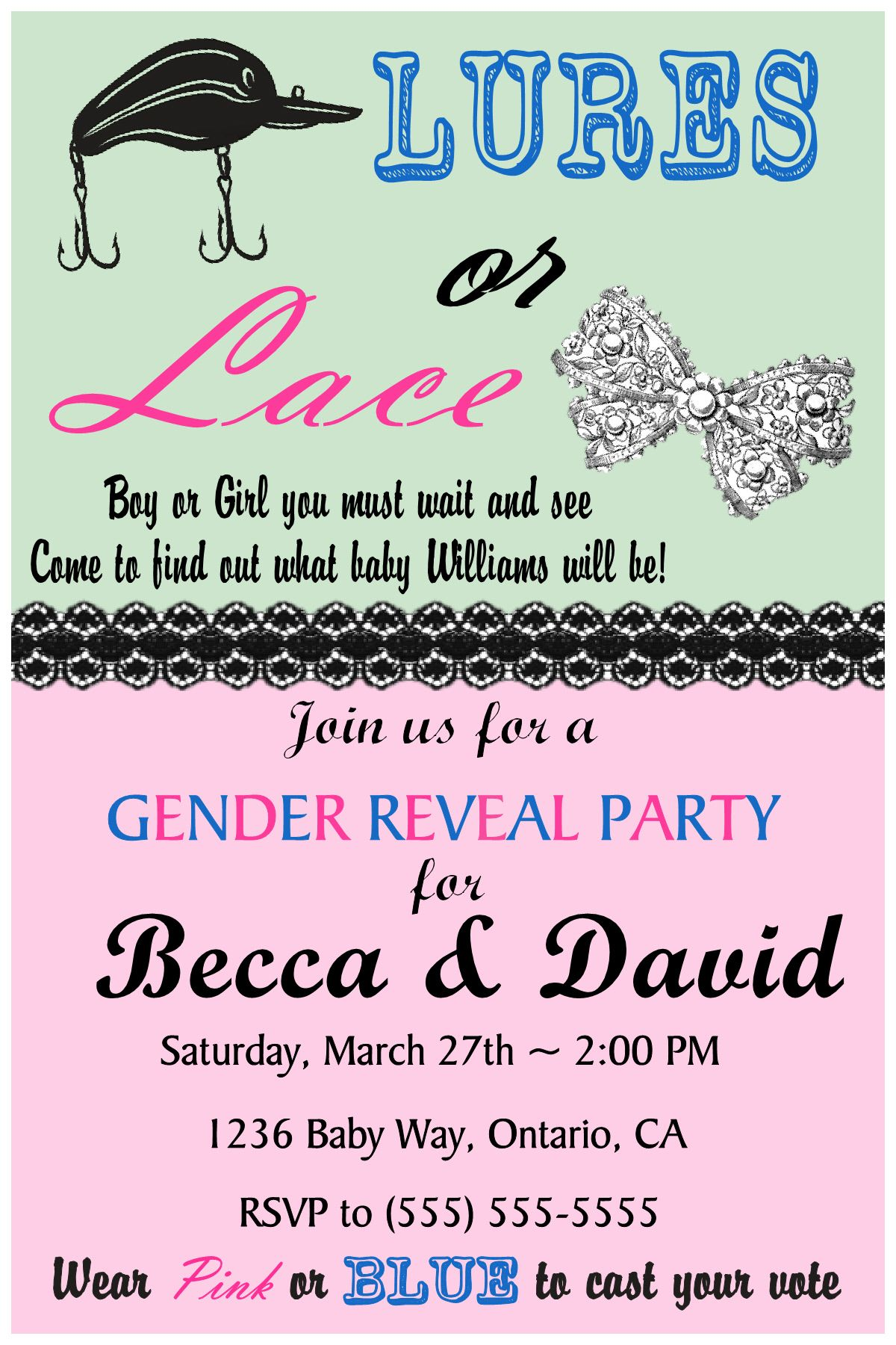 Lures or Lace Gender Reveal Invitation -Please click on invite ...