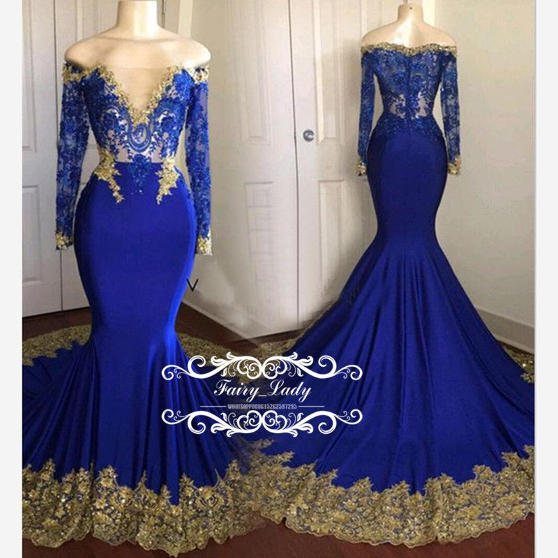 Designer Mermaid Long Sleeves Prom Dresses Sheer Lace Gold Appliques Beading  2018 Royal Blue Satin Graduation Dress Formal Evening Gown 51ffbb01e8ca