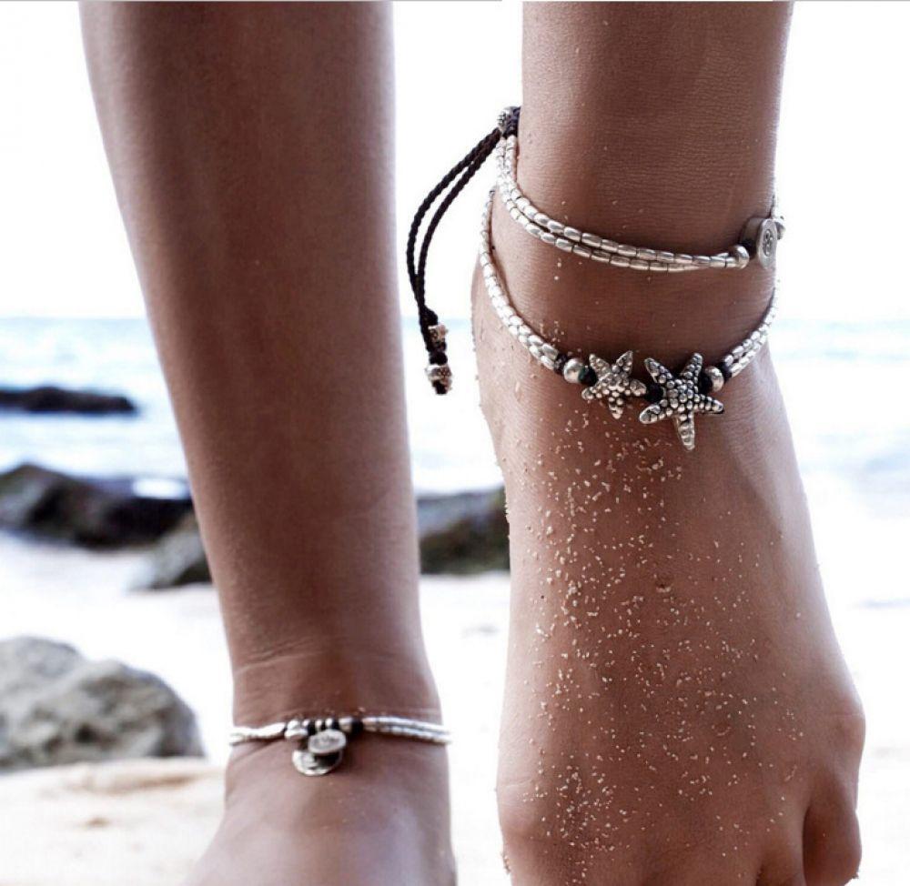 NEW Boho Barefoot Sandal Anklet Crystal Tassel Ankle Bracelet Starfish Chain