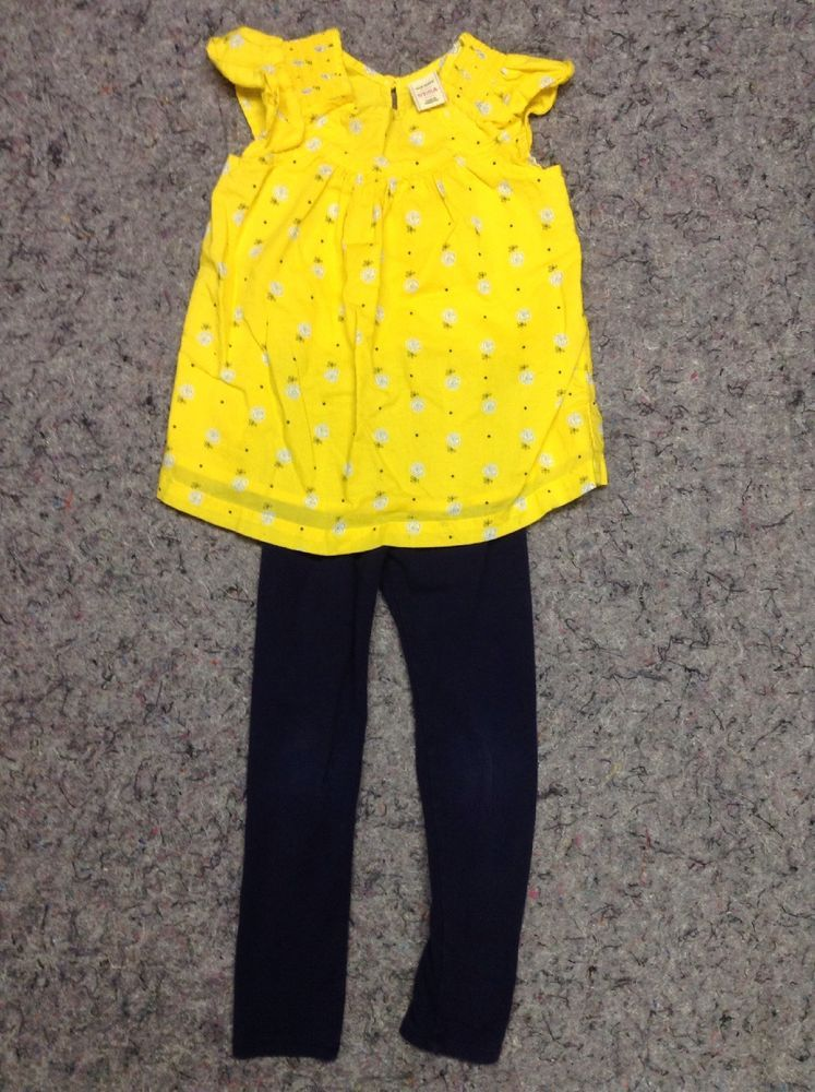 df2aeb8aca656e Old Navy 5t Girls Yellow Cotton Floral Top Cat   Jack blue Leggings mixed  Set