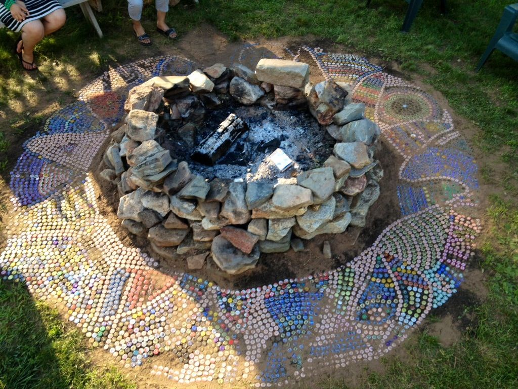 Recycled Bottle Caps For Mosaic Design Fire Pit Diy Outdoor Fire Pit Fire Pit Essentials Fire Pit