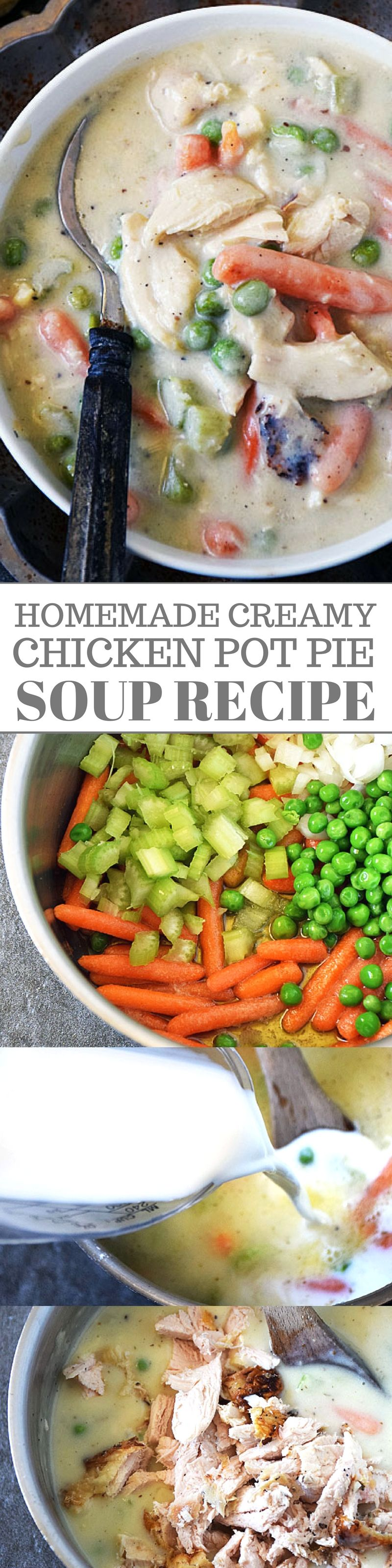 All the comforting goodness of chicken pot pie without all the fuss! Make life taste good with Creamy Chicken Pot Pie Soup today! Comfort food at its finest and perfect for rainy days. #chickenpotpie #comfortfoodrecipes #souprecipes #easyrecipes #chickenrecipes