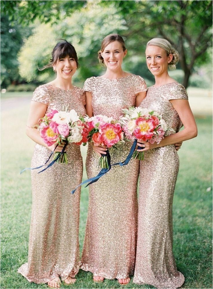 b95dd76eb12  43.28 Piece buy wholesale Sparkly Rose Gold Cheap 2015 Mermaid Bridesmaid  Dresses 2016 Short Sleeve Sequins Backless Long Beach Wedding Party Gowns  Gold ...