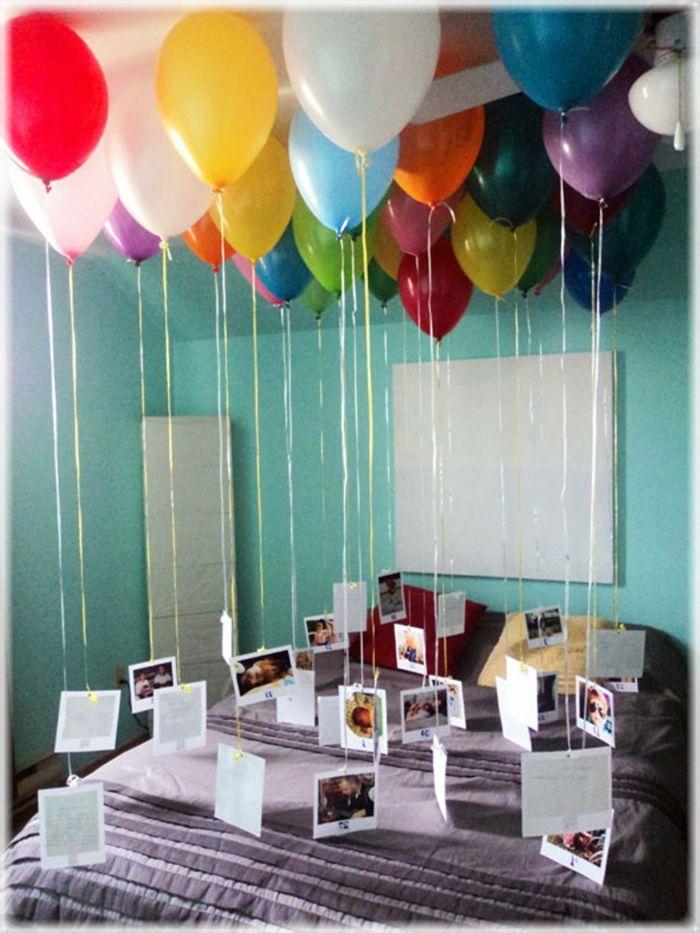 1001 ideas sobre decoraci n con globos para fiestas y - Como sorprender a mi pareja en su cumpleanos ...