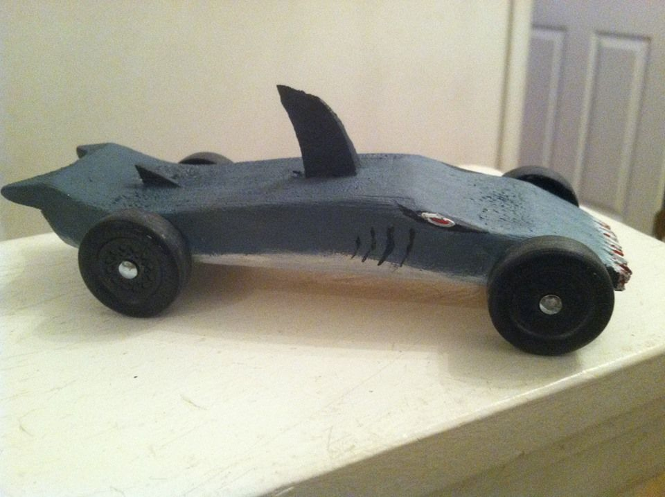 Our shark pinewood derby car just for him pinterest for Pinewood derby shark template