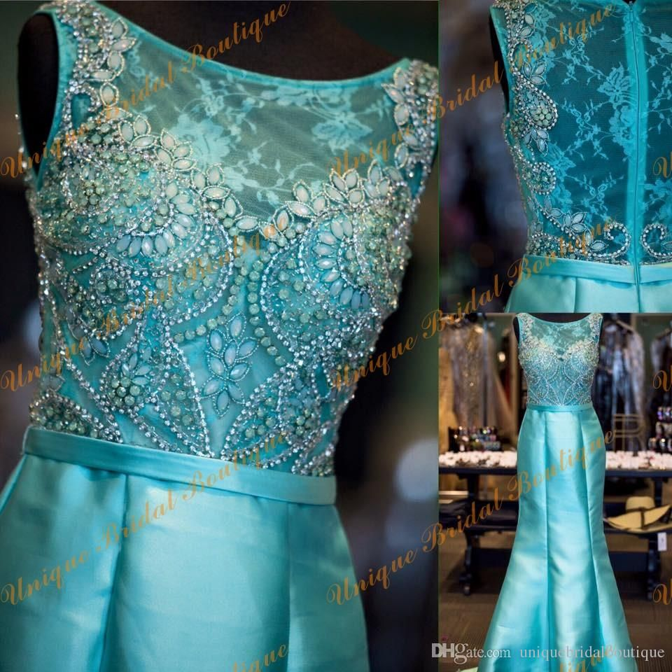 Prom Dresses Mermaid Style 2016 With Sheer Neck And Zipper Back Real ...
