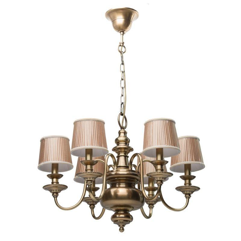 Klassischer 6-flammiger Kronleuchter aus Messing Chiaro 411010806 - leuchten fürs wohnzimmer