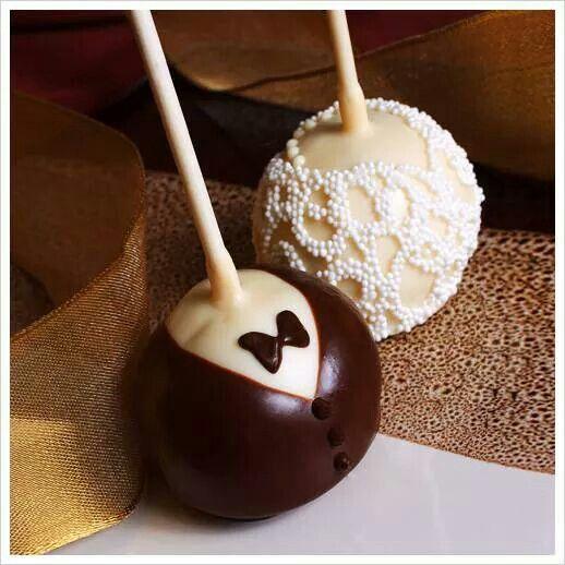 Bride and groom cake balls