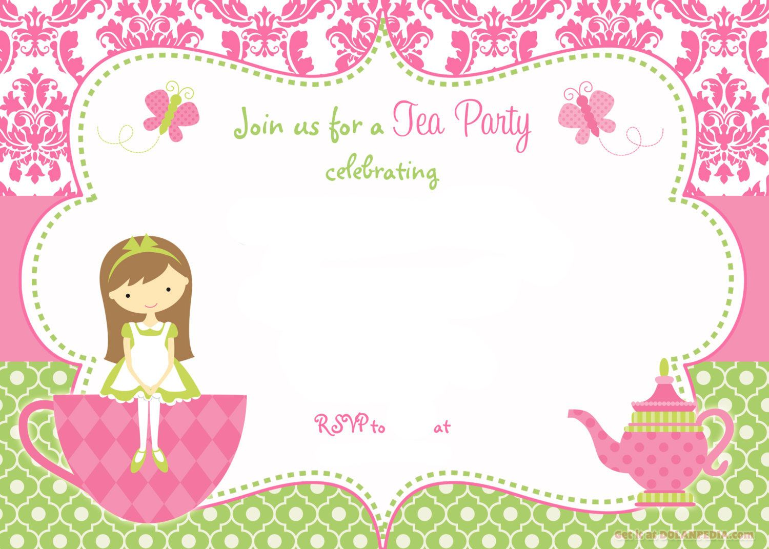 free printable tea party invitation template for girl