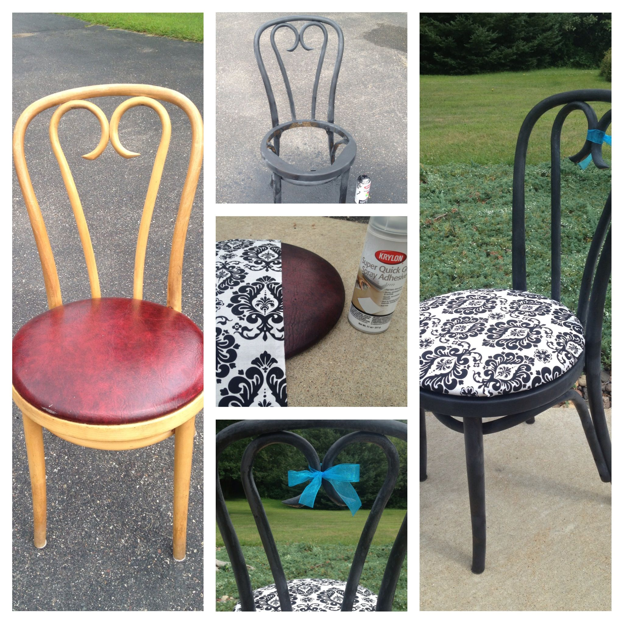 Diy chair reupholster spray paint fabric and spray