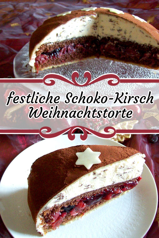 Photo of festive chocolate-cherry Christmas cake with porked original – cake recipes with eggnog