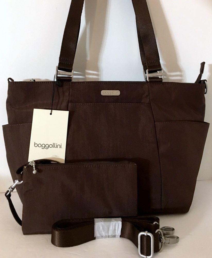 11d91fe899 NEW BAGGALLINI Medium Avenue Shoulder Tote Java Brown Nylon Travel Bag +  Pouch  Baggallini