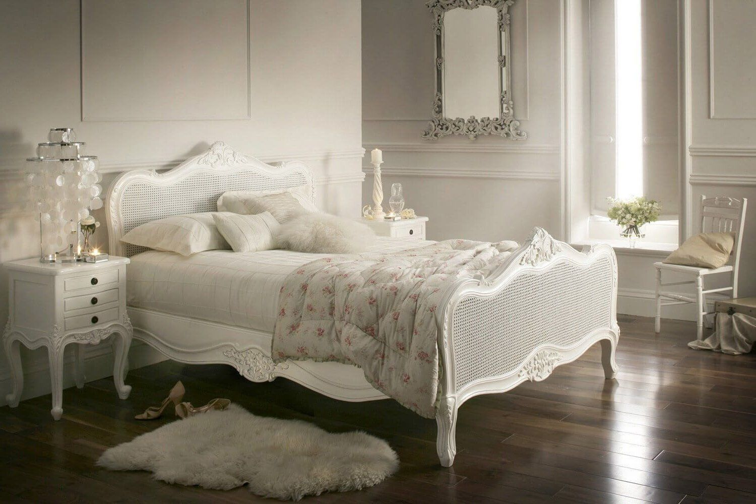 Fabulous White Wicker Bedroom Furniture White wooden bed