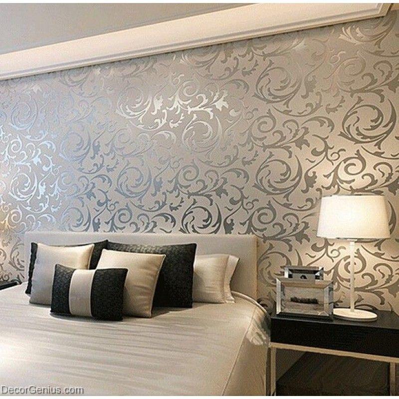 Popular 3d Design Silver Bedroom Wallpaper Modern Style Decorgenius Dgwp004 Modern Wallpaper Bedroom Wallpaper Living Room Stylish Bedroom Design