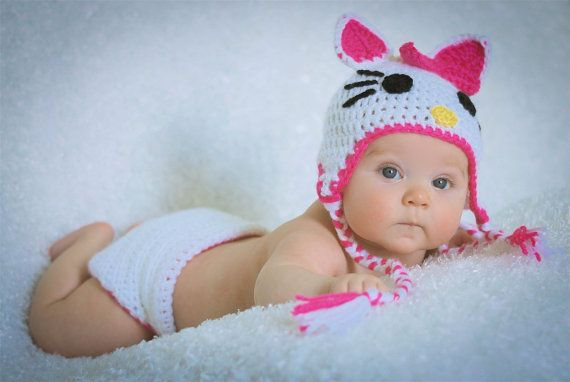 Crocheted Baby Hello Kitty Hat and Diaper by NanasKnottyCreations, $28.99