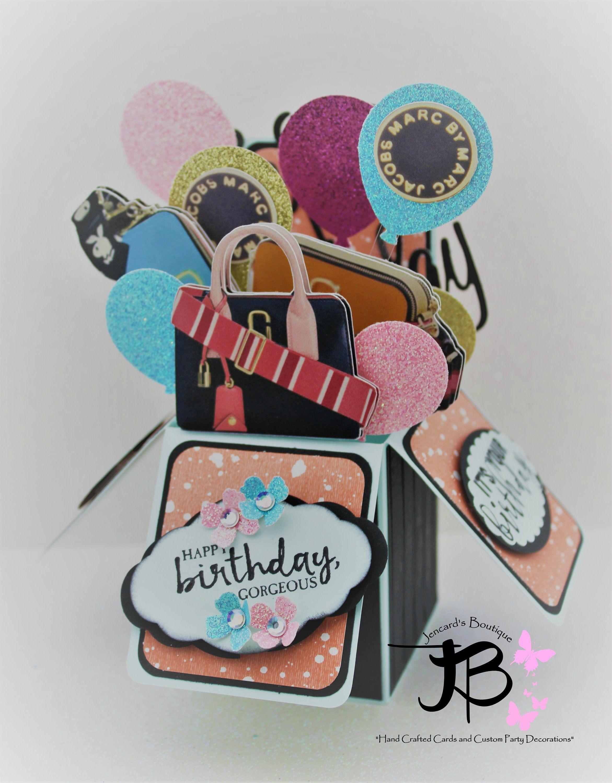Birthday pop up card purse theme pop up card marc jacobs bag theme