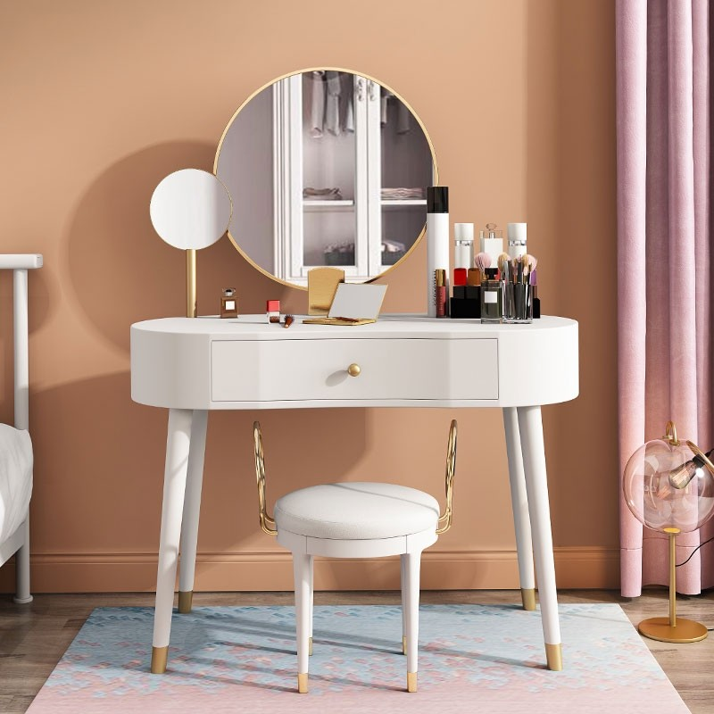 Elegant Makeup Vanity Table Set With Drawer Stool 2 Mirrors Included Blue White Pink Green In 2020 Vanity Table Set Makeup Table Vanity Makeup Vanity Set