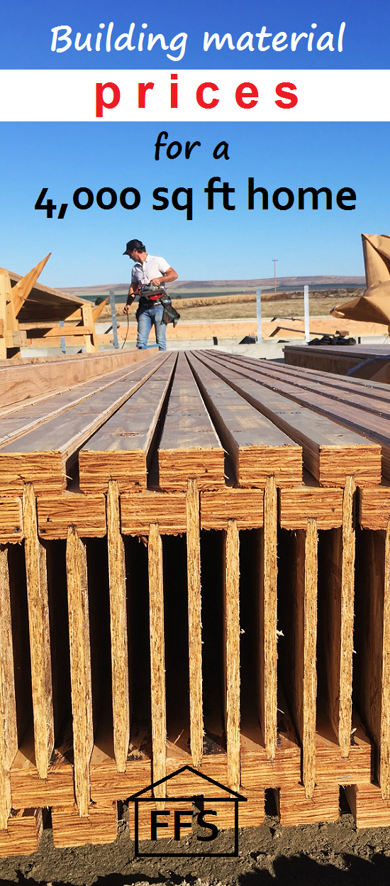 Building Material Prices For A 4 000 Sq Ft Home Real Numbers And What Things Actually Cost Home Building Tips Building Materials Build Your Own House