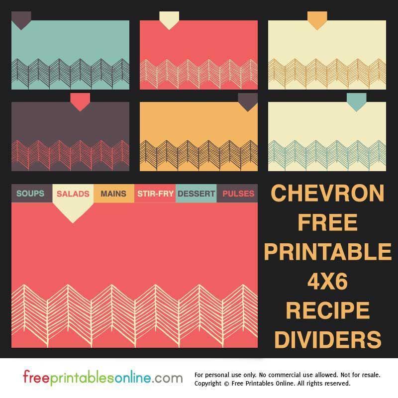 Chevron 4x6 Recipe Divider Cards Free Printables Online Diy Recipe Cards Recipe Cards Printable Free Printable Recipe Cards