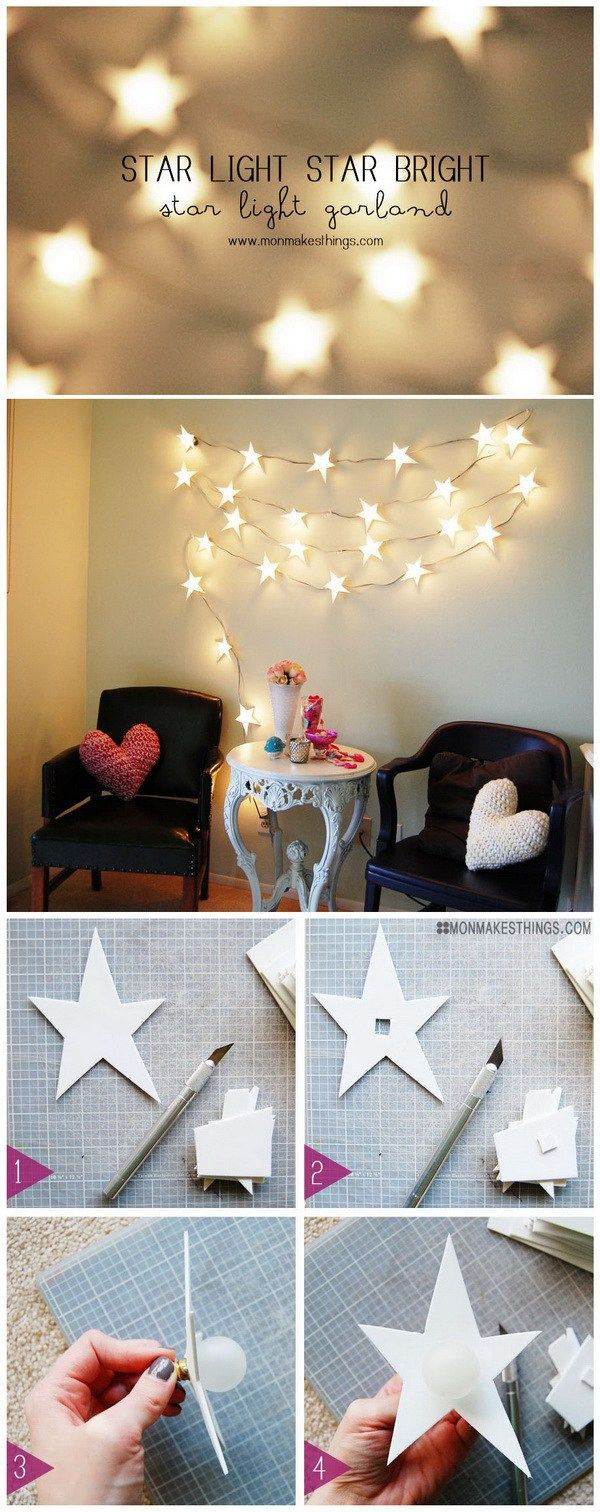 30 cool diy projects for teenage girls star string lights and light garland for Young woman bedroom and string lights